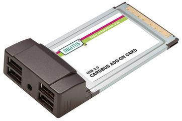 USB 2.0 PCMCIA CardBus Adapter, 32 Bit, 4 Port
