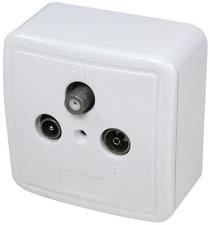 Antennen-Aufputzdose, weiß (RAL 9003)